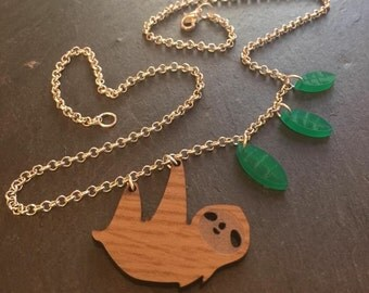 """Upcycled Sloth necklace by AsBeAu 18"""""""
