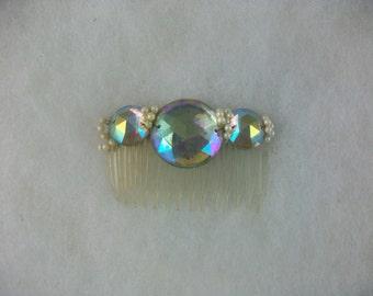 Vintage Hair Comb Aurora Borealis Rhinestones Faux Pearls