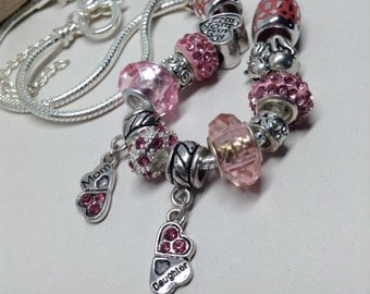 Mother-Daughter Pink Charm Neckace; Hand Beaded, Mother's Day