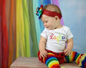 Girls rainbow birthday party outfit set personalized custom name rainbow baby OTT