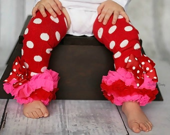 Red and white polka dot leg warmers triple chiffon ruffles pink valentines day christmas