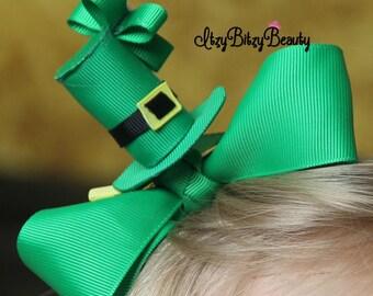 Girls St. Patricks day hair bow clip green hat clover