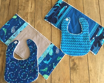 4 pc Under the Sea Bib and Burp cloth Gift Set