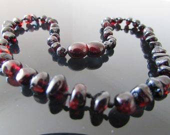 Beautiful Baltic Amber Necklace Dark Cherry Colour 32-33 cm
