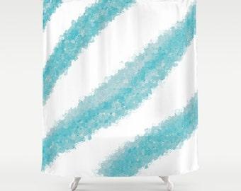 Blue Shower Curtain, Bath Curtain, Mosaic Abstract Art