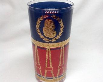 Vintage 1776 Bicentennial Commemorative Drinking Glass Tumbler Gold Red Blue Patriot President Drum American