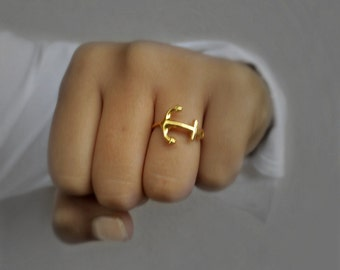 Anchor Ring - Horizontal Anchor Ring/ Gold Vermeil Ring/ Silver Anchor ring/ Anchor Jewelry/  Nautical Jewelry/ Gold Ring/