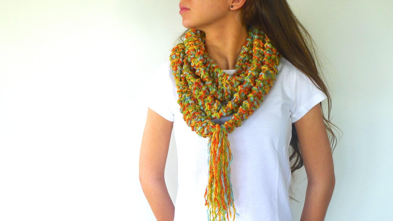 bufanda collar multicolor hecho a mano bufanda con flecos