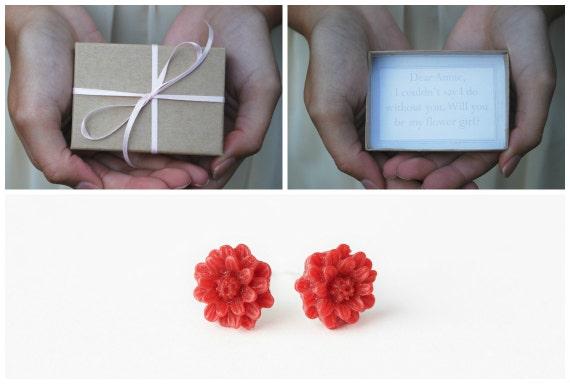 Flower Girl Box - Will You Be My Flower Girl - Flower Girl Invitation - Flower Girl Earrings - Custom Flower Girl Box - Be My Flowergirl