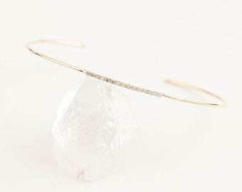 14k gold diamond bangle, thin diamond bangle cuff bracelet, dainty bangle, stackable bangles, rose gold, white gold, dainty bangle, met-b101