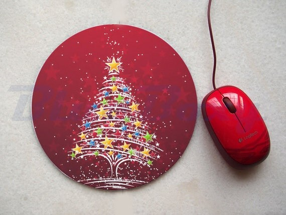Christmas Tree Mousepad, Office Mousepad, Computer Mouse Pad, Fabric Mousepad