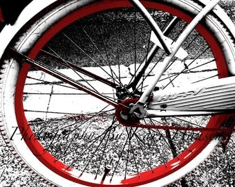 Vintage Huffy Bicycle Red and White Fine Art Photography - Bicycle Wall Art