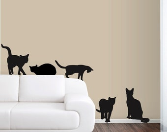 6 Cats Wall Decals in Life Size! -  FREE SHIPPING!