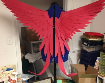 Realistic Red Tailed Bird Cosplay Wings