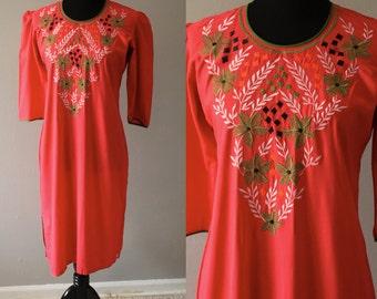 Floral Embroidered Cotton Dress/ Pink Short Dress/Pink Dress/Summer Dress/Embroidery Dress/Pink Cotton Dress/Green and pink Dress/