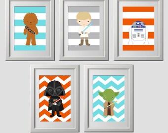 star wars wall art prints, decor prints, star wars wall decor, set of 5 high quality prints, kids room, star wars nursery decor