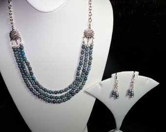 A Lovely Blue Picasso Jasper Three-Tier Necklce and Earrings. (201525)