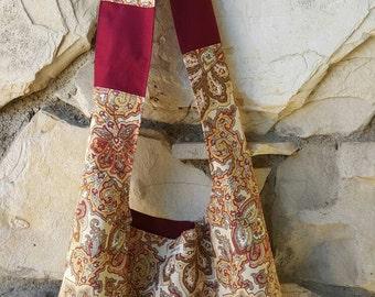 Burgundy, gold,ivory and browns Bohemian hobo bag, across the body hobo bag,  slouch bag,  boho bag,  hippie bag, hobo purse. Reversible