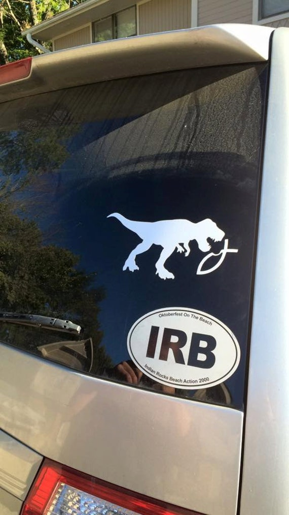 T Rex Dinosaur Eating A Jesus Fish Atheist Vinyl Decal