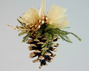 Gold Pine Cone Ornament, Pinecone Ornament, Christmas Decorations, Christmas Ornament, Holiday Decor, Gold Accents, Christmas Tree Ornament