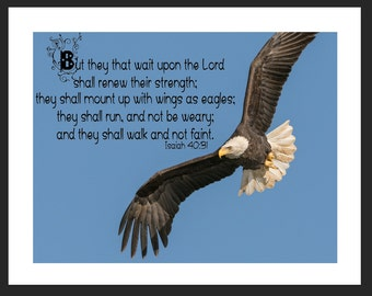 Eagle-Isaiah 40:31 Bible Verse Picture Matted
