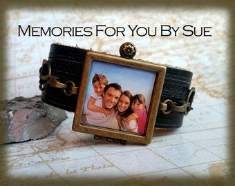 Custom Photo Bracelet-Brown Leather Locket Bracelet-Photo Gifts-Personalized Photo Locket-Memorial Bracelet-Photo Keepsake-In Loving Memory