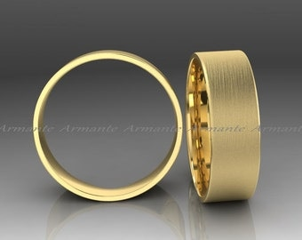 Solid Gold Wedding Band 14k Yellow Gold Wedding Ring, Hand Made Wedding Band, Brushed Finish 7.00mm Wide