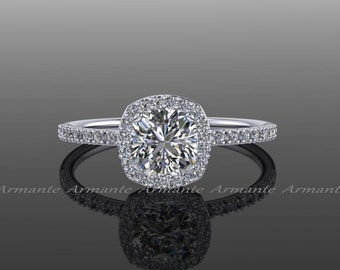 Forever One Moissanite Halo Diamond Engagement Ring / Cushion Cut 14K White Gold Wedding Ring / Petite Bridal Ring /  RE00082FO