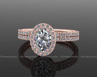 Ring Set, Oval Moissanite Engagement Set, Halo Diamond Bridal Set, Rose Gold,  Forever Brilliant Oval Moissanite Wedding Set / RE00011R