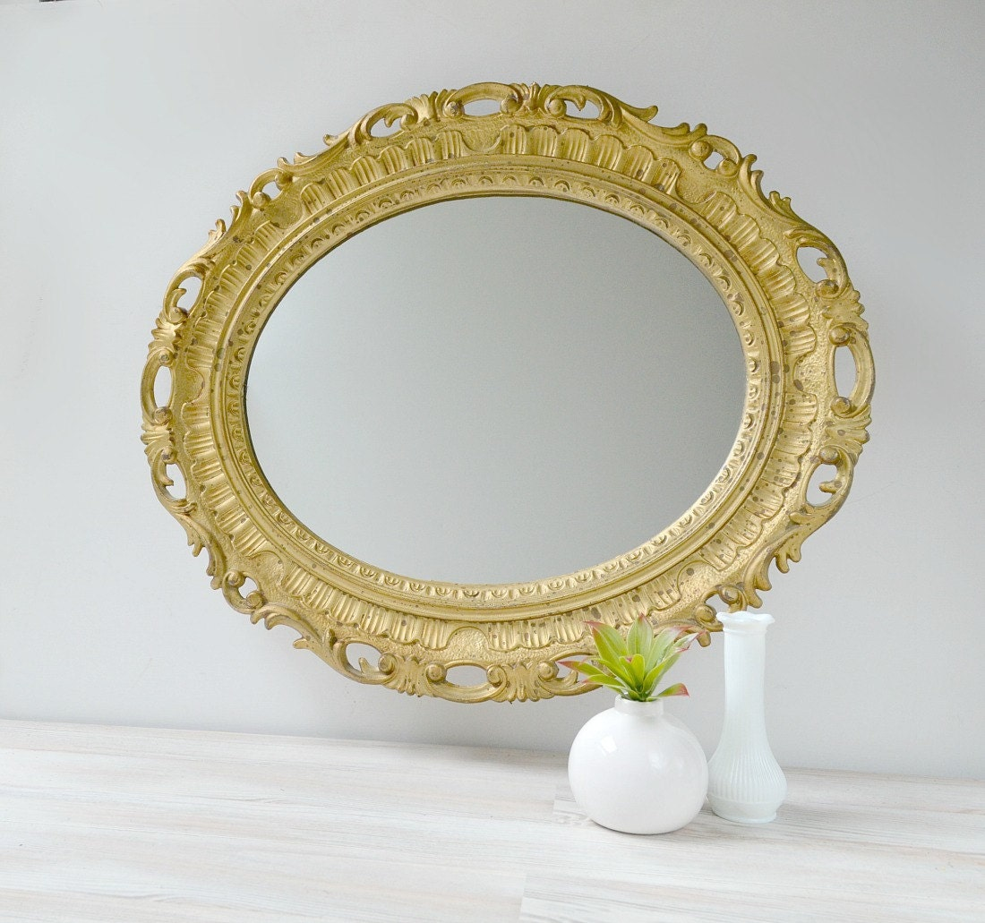 Vintage gold oval mirror ornate gold mirror ornate wall for Ornate mirror