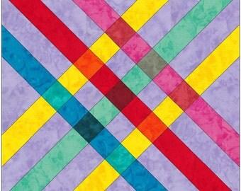 Celtic Rainbow Plaid Paper Piece Templates Quilting Block Pattern