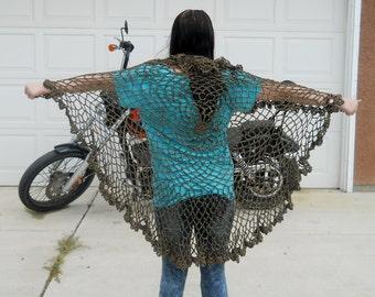 Circular Shawl Wrap Chenille Hand Crochet (Chinchilla Suede Brown)