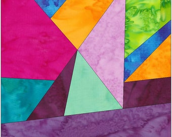Crazy Patch 19 Paper Piecing Foundation Quilting Block Pattern PDF