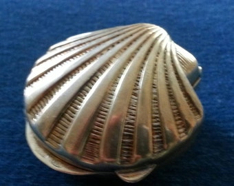 Vintage 800 Silver Clam Shell Pill Box, Vintage Italian Silver Pill Box