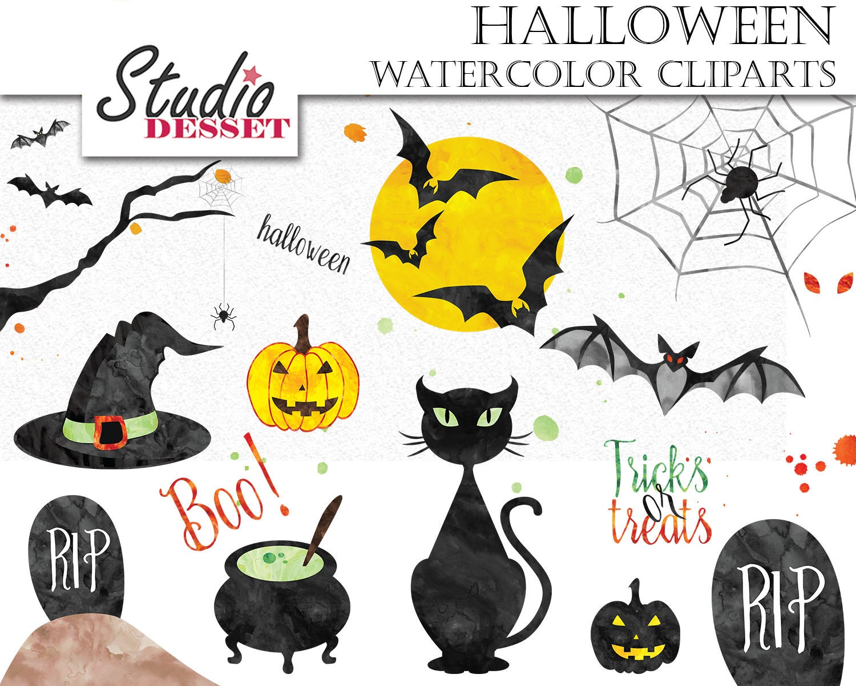 Watercolor Halloween Clip Art Spooky Cliparts Moon Tricks