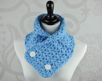 Crochet Scarf - Blue - Neckwarmer