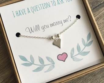 Wedding Proposal Gift, Will you marry me, Valentines Day Gift, Marriage Proposal, Engagement, Sterling Silver Bracelet Card