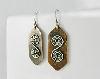 Copper Earrings ~ Spiral Earrings ~ Mixed Metal Earrings ~ Lightweight Earrings ~ Geometric Earrings ~ Everyday Earrings – Dangle Earrings
