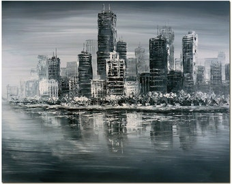 Manhattan Cityscape - Hand Painted Modern Impressionist Painting On Canvas CERTIFICATE INCLUDED