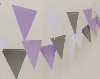 Purple Grey White triangle flag paper garland , Baby Shower, Geometric garland, Wedding flag garland, nursery decor Girl's Birthday Party