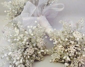 Ivory snowflake bridesmaids bouquet - Christmas wedding bouquet - winter wedding - flowergirl - child