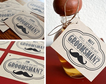 Will You Be My Groomsman? Gift Tag - Mustache, Antlers, Bow Tie, Beer Mugs, Dice, or Guns
