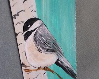 Chickadee painting, hand saw painting,bird painting,saw painting,birch tree paint,vintage hand saw painting,bird on saw,