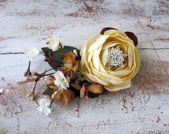 Autumn Hair Clip, Fall Wedding Hair Flowers, Ivory and Brown Flowers Bridal Hair Clip