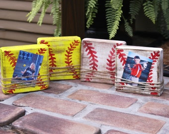 Small block picture frame; baseball frame; softball frame; kids sports frame; distressed block picture frame; home decor