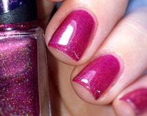 Raspberry~Fruity Snacks Collection Indie Nail Polish Holo Pink Spectraflair  5ML