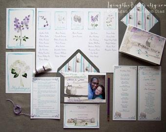 Formal Wedding Suite Watercolor Invitations
