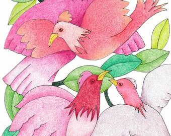 Pink Birds Card