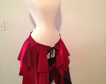 Red Upcycled Fairy Skirt Bustle