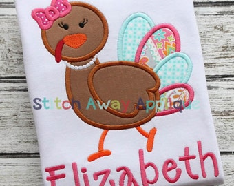 Mrs Turkey Thanksgiving Machine Applique Design